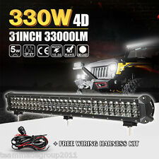 4D 31INCH 330W CREE LED LIGHT BAR FLOOD SPOT OFFROAD PICKUP SUV UTE TRUCK 32/34""