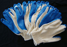 5 Blue Rubber Latex Palm Coated Work Gloves String Knit Cotton Grip Heavy Duty