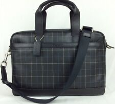 COACH MEN'S HUDSON LEATHER BAG IN BLACK TATTERSALL F71561 NWT$450