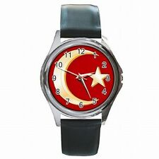 Muslim Crescent Moon and Star Islam Leather Watch New!