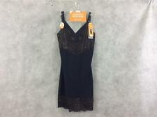 Warners full slip NEW S small black gold lace shapewear stylishly smooth NWT