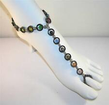 Multi Color Magnetic Foot Jewelry 10 Inch Anklet w/Toe Ring Attached