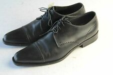 MINT ERMENEGILDO ZEGNA 9D Black Cap Toe Tapered Men's Dress Oxfords Shoes