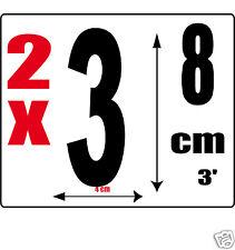 lot 2 Chiffres [3] Sticker autocollant noir hauteur 8cm Lettre en vinyle