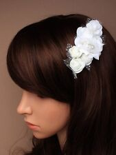 WHITE BRIDAL HAIR CLIP BRIDESMAID NET FLOWERS FASCINATOR 4779 ROSE GLITTER