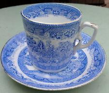Antique Blue Willow Ridges Gold Trim Teacup & Saucer Set Square Handle