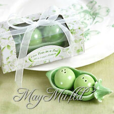Ceramic Two Peas in a Pod Salt & Pepper Shakers Wedding Party Baby Shower Favors