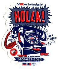 Gold Wheels Skateboard Sticker - Holla 10.5cm high approx skateboarding hip hop