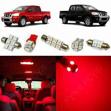 10x Red LED Lights Premium Interior Package Kit for 2004-2015 Nissan Titan NT1R