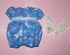 "Handmade Doll Clothes for 16"" - 18"" Baby Dolls - ""Fly Butterflies"" Blue Romper"