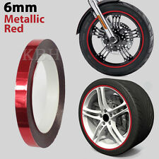 "6mm 1/4"" Wheel Rim Pin Stripe Striping Tape Vinyl Decal Sticker Car Red Chrome"
