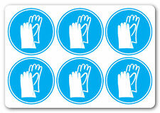 [ 6No | 50x50mm ] HAND PROTECTION MUST BE WARN | health and safety signs
