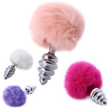4 Color Female Male Metal Plug Crystal Jewelry Stainless Steel with Plush Ball