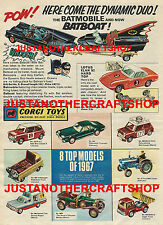 Corgi toys gs 3 batman batmobile batboat ensemble cadeau 1967 affiche pub notice