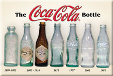 "COCA-COLA BOTTLE HISTORY 2"" X  3""  MAGNET, Years OF BOTTLES 1899-1991, FREE SHIP"