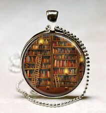 Library Book Necklace Glass Dome Art Pendant with Ball Chain Included  jewelry