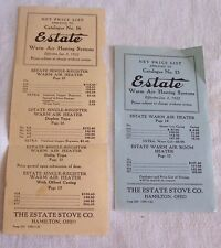 2-1922 ESTATE STOVE CO PRICE LIST CHANGES-HAMILTON OHIO-WARM AIR HEATER
