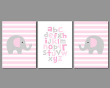 3 Wall Art Nursery Prints Baby Girl Elephants Stripes Alphabet Pink and Grey