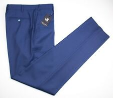 Mens SARTORE Zignone Blue Wool Super 120's Flat Front Dress Pants 52/36 NWT $325