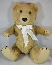 "VINTAGE 1940s/50s 16"" JOINTED MOHAIR CHILTERN TING-A-LING TEDDY BEAR WITH BELL"