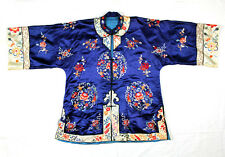 ANTIQUE 19th/20th QING DYNASTY CHINESE EMBROIDERED BROCADE SILK ROBE JACKET