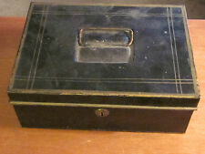 Vintage Collectible Metal Cash Money Box With Lock And Key Steampunk Funky Junk