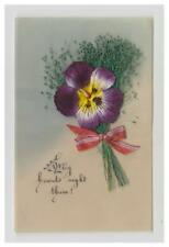 Novelty postcard - Purple Fabric Pansy, Fern & Ribbon - Made out of Celluloid