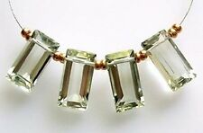 4 AAA NATURAL GREEN AMETHYST PRASIOLITE FACETED BAGUETTE CUT BEADS 10 mm  J9