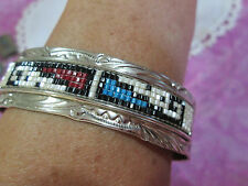 Glen Willie Vintage Navajo Indian Sterling Silver Stampwork with Beads Bracelet
