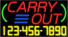 """NEW """"CARRY OUT"""" W/YOUR PHONE NUMBER 37x20 REAL NEON SIGN W/CUSTOM OPTIONS 15021"""