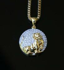 "Mens Gold Iced Out Lab Diamond Mini Lion Pendant Piece And 24"" Chain Necklace"