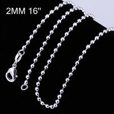 Women Jewelry 925 silver plated 2MM Bead Solid Charm Chain Link Necklace 16 inch