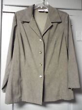 Womens Size 2X Worthington Green Suede Cloth Button Up Shirt Faux Suede