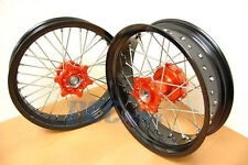 "KTM 690 FRONT/REAR 17""/17"" SUPERMOTO WHEELS SET CUSH HUB DRIVE ORANGE P RMT08"