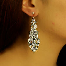 Boucles d`Oreilles Clips Argenté Pendant Long Art Deco Goutte Triangle Retro B8