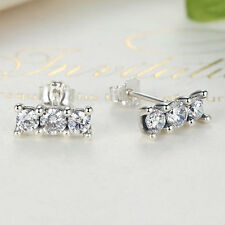 Sparkling Elegance Round CZ 925 Sterling Silver Ear Stud Earring for Women