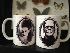 FRANKENSTEIN COFFEE MUG SET! Bride Of Frankenstein Horror Movies Monsters Vtg