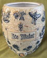 Antique Stoneware ICE WATER COOLER Crock BLUE Whites Utica NY Salt Glaze No Lid