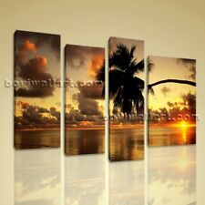 Large Picture Prints Stretched Canvas Wall Art Sunset Glow Palm Tree Beach