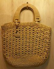 ESPRIT Natural  Woven Summer Beach Handbag Purse Wooden Handles