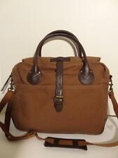 "J CREW 15"" Brown Cotton Twill Canvas Laptop Bag Case Duffel Business Tote NWT"