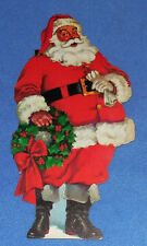 "VINTAGE DENNISON  8-1/2""  DIE CUT SANTA WITH WREATH  CUTOUT  - 1950'S - NOS"