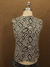 Vtg 50s 60s NEW NOS B&W Abstract Art Cropped Sleeveless Top S Sanforized Cotton