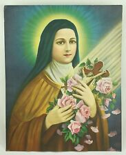 Catholic Saint Therese Religious Vintage Art Lithograph Print