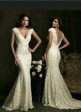 Vestido de novia Reino unido sexy vestido de novia blanco/marfil Corte Sirena con encaje de tamaño 6-16