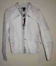 Bomb Boogie White and Pink Leather Bomber Biker Jacket with Buckles size L