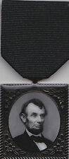 Abraham Lincoln Civil War 150th Anniversary Mourning Medal with 2 Medal Drapes