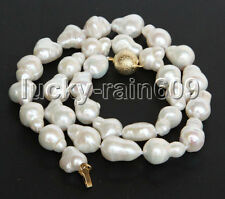 "luster 17"" 15mm baroque white Reborn keshi pearls necklace E9360"