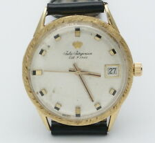 Rare Vintage 1970s Jules Jurgensen Solid 18K Yellow Gold Swiss Watch Huge Marker