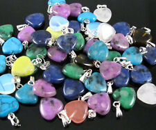 Wholesale Lot 12pcs Charms Heart Love Natural Stone Pendant MIX Color